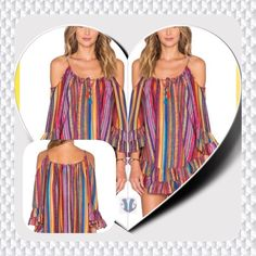 Summer Beach Dress It's a gorgeous fashion statement for summer casual fashion.  The dress is multicolored off the shoulder spaghetti strap loose fitting dress. Boutique Dresses