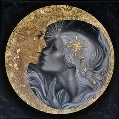 Moon Kiss Art Print by Childlike Archetype - X-Small Kiss Art, Arte Sketchbook, Beautiful Moon, Moon Goddess, Goddess Art, Moon Art, Stars And Moon, Sun Moon, Moon Phases