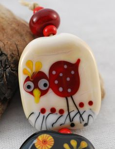 Folk Art Style Chickens   set of 5 glass by JanePeralaDesigns, $25.00