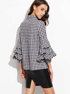Black Gingham Cutout High Neck Billow Sleeve Top -SheIn(Sheinside) Mobile Site