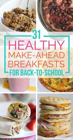 31 make ahead breakfasts that you can store in your refrigerator, freezer, or pantry. Perfect for back to school!
