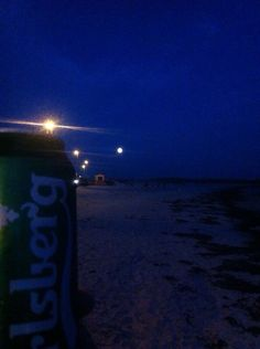 Cold beer and gorgeous moon over Salthill, Galway.