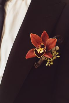 Copper orchid boutonniere. MMD Events.