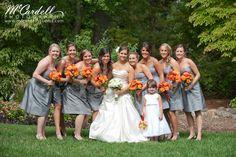 Orange & Grey Wedding  www.merrymakingevents.com
