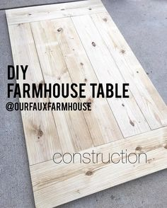 DIY 7' Farmhouse Table Part II • Construction. Please note, on the table shown a few posts back we did not make the legs, we bought vintage sawhorses and used those. The 4x4's from the materials list serve as very simple legs-but of course there are tons of other fun ideas out there! . Instructions- Cut the 5 middle pieces and lay side to side. Measure total width. Should be 46 3/8 but might vary based on straightness of wood. Cut your 2x12 end pieces to width of the 5 boards. Cut two 2...