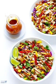 Easy Healthy Chicken Recipes - Rainbow Thai Chicken Salad - Lunch and Dinner Ideas, Party Foods and Casseroles, Idea for the Grill and Salads- Chicken Breast, Baked, Roastedf and Grilled Chicken Healthy Dinner Recipes, Healthy Snacks, Healthy Eating, Cooking Recipes, Vegetarian Recipes, Dessert Recipes, Thai Chicken Salad, Chicken Salad Recipes, Grilled Chicken