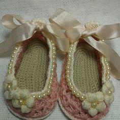 Zapatos bebe rosa perlados