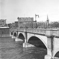 Bridge Street bridge over the Grand River, looking west. Mi Photos, Grand Rapids Michigan, Contouring, Great Lakes, Cityscapes, Historical Photos, Bridge, Childhood, March