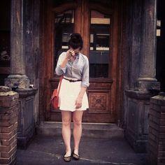 white skirt + button-down