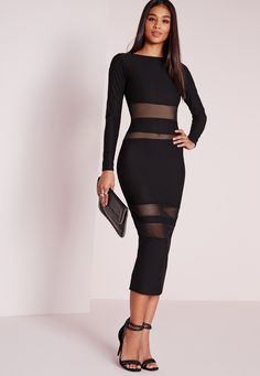 Missguided - Long Sleeve Mesh Insert  Midi Dress Black
