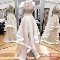 A Line Prom Gown,Two Piece Prom Dress,Evening Gowns,2 Pieces Party Dresses,2 Pieces Formal Gown For Teens PD20182067