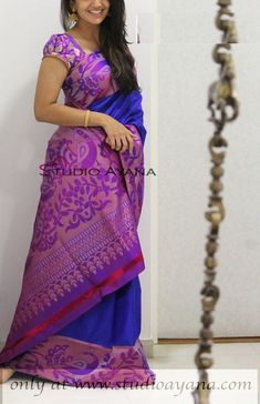 Buy online purple with blue colour designer heavy silk saree at joshindia Purple Saree, Lehenga, Sabyasachi, Party Wear Sarees Online, Bollywood Party, Saree Wedding, Silk Sarees, Chiffon, Classy
