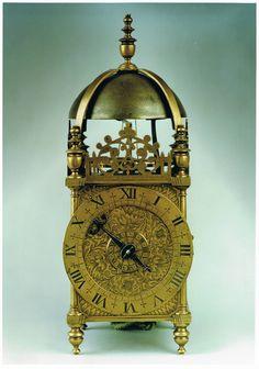 A mid 17th century brass balance wheel striking lantern clock signed above the dial 'Peter Closen nere Holborn Bridge fecit' from Raffety Fine Antique Clocks (www.raffetyclocks.com)