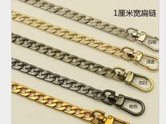 M-W 31.5 DIY Iron Box Chain Strap Handbag Chains Accessories Purse Straps Shoulder Replacement Straps with Metal Buckles Style2 Gold