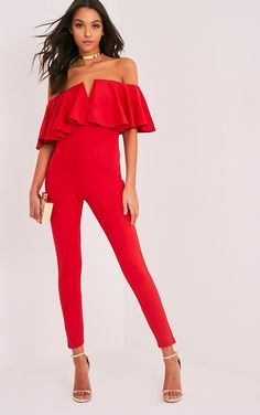 Red Bardot Frill Scuba JumpsuitLook ultra glam this season in this jumpsuit. Featuring a soft scu...