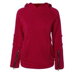 Solid Color Zip Embellished Patchwork Pullover Hoodie (72 BRL) ❤ liked on Polyvore featuring tops, hoodies, hooded sweatshirt, purple zip hoodie, zipper hoodies, sweatshirt hoodies and pullover hoodie