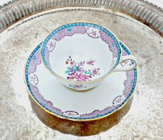Floral Pattern Tea Cup and Saucer, Purple and Aqua Tea Cup, Scalloped Teacup, Dainty Teacup,  Small Teacup, Copeland Grosvenor China England