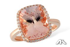 Allison-Kaufman 14K rose gold morganite (4.15 ct) ring with diamond halo (0.18 ctw). #morganite #diamond #rosegold #AllisonKaufman