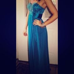 I just discovered this while shopping on Poshmark: Blue beaded Prom Dress. Check it out!  Size: 0