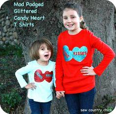 glitter heart t shirt DIY