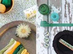 From the same color story, I love the idea of using embroidery thread as color swatches.