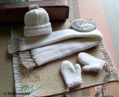 1:12 scale // Beanies set No.7 Knit hats Scarf Cute Wool glove by DollhouseAra, $39.00