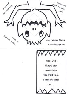 Mm Monster pop up card. Colour in. Fold the A4 sheet into quarters. Cut along the zigzag mouth and bend and fold to open and close with the opening of the card.