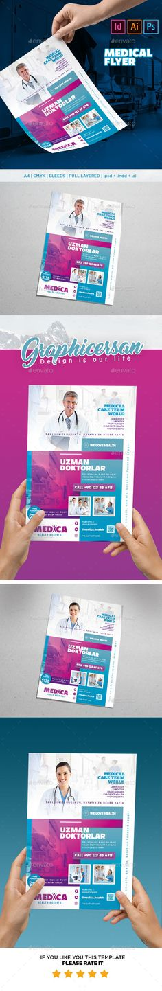 Medical Flyer Template PSD, InDesign INDD, AI Illustrator