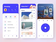Wansview Cloud Smart Home app by Xiaoming Pan for NICE 100 on Dribbble Flat Web Design, Design Ios, Interface Design, User Interface, Ui Design Mobile, Mobile Ui Patterns, Software Apps, Web Layout, Design Layouts