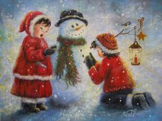 Snowman Song Print of Original Oil Painting by VickieWadeFineArt - what a gorgeous holiday piece to put on display or give as a gift!! #indigo #magicalholiday