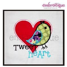 Tweet Heart Bird Love Applique - 5 Sizes!   Valentine's Day   Machine Embroidery Designs   SWAKembroidery.com Embroitique