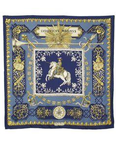 "Hermes ""Lvdovicvs Magnvs"" by Francoise De La Perriere Silk Scarf is on Rue. Shop it now."