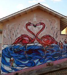 Flamingo's wall in Brazil Murals Street Art, Mural Art, Graffiti, Sea Murals, Flamingo Art, Sea Art, Country Artists, Outdoor Art, Art World