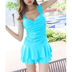 Cute Sweetheart Neckline Ruffled One-Piece Swimsuit For Women (LAKE BLUE,2XL) in One-Pieces   DressLily.com
