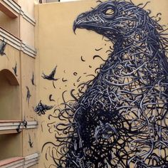 Murals Composed of Frenetic Linework by DALeast street art murals birds- Incredible piece!