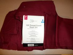 SHEET SET. FULL SIZE. 4 PIECE SET. MAROON COLOR. 120 THREAD COUNT. MAINSTAYS.NEW