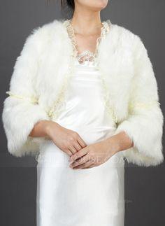 Wraps - $39.99 - Half-Sleeve Faux Fur Wedding Wrap (013037948) http://jjshouse.com/Half-Sleeve-Faux-Fur-Wedding-Wrap-013037948-g37948