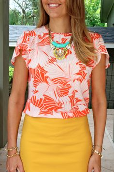 Printed top, yellow pencil skirt, turquoise necklace