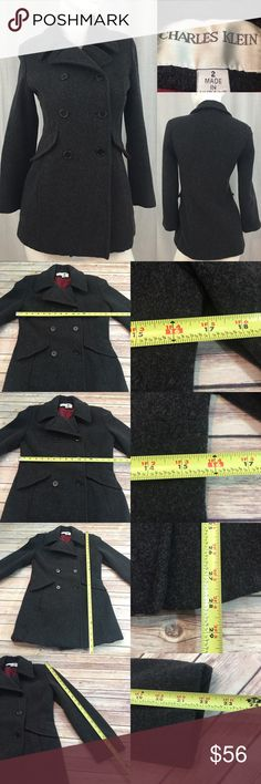💗Size 2 Charles Klein Wool Button Front Pea Coat Measurements are in photos. Normal wash wear, no flaws. B3  I do not comment to my buyers after purchases, do to their privacy. If you would like any reassurance after your purchase that I did receive your order, please feel free to comment on the listing and I will promptly respond. I ship everyday and I always package safely. Thanks! Charles Klein Jackets & Coats Pea Coats