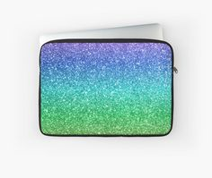 Sparkly green and blue ombre glitter laptop sleeve for Macbook Air or Pro. Blue Ombre, Aqua Blue, Green Magic, Glitter Tumblers, Sea Foam, Back To Black, Macbook Air, Green And Purple, Customized Gifts