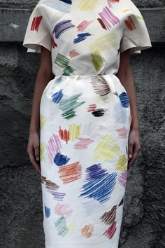smudges of color fabric on this dress // would like to see with belt...boots...accessories Vika Gazinskaya