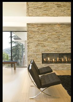stack stone fire place