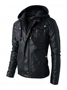 3ae60f279ee1cc Men s Brando Style Biker Real Leather Hoodie  jacket - Detach Hood - Hood  is made
