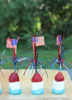 Patriotic 4th of July Sticks - Strawberry Marshmallow Kabobs