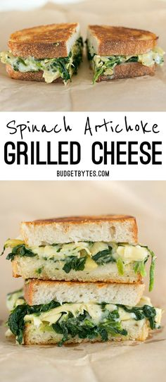 Spinach Artichoke Grilled Cheese is like your favorite appetizer turned into a meal. BudgetBytes.com