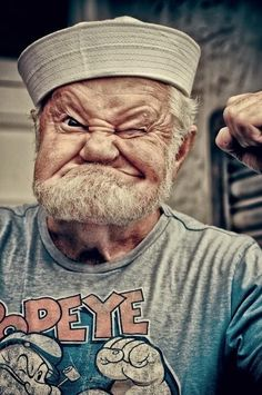 Popeye in real life! Let's track him down, feed him a bunch of spinach, and see how far he can throw a Waboba ball.