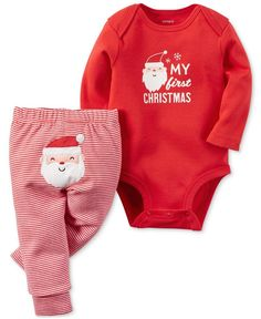 8ea240d2d158 Carter s 2-Pc. My First Christmas Bodysuit   Pants Set