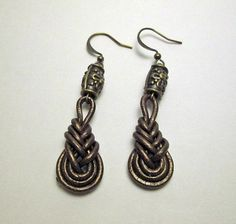 Pipa knot leather earrings with brass plated by polymerclaybijoux, $10.00