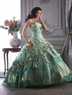 Sequins Lace-up Appliques Strapless Long Prom Dress picture 1