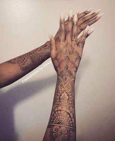 Black henna full arm